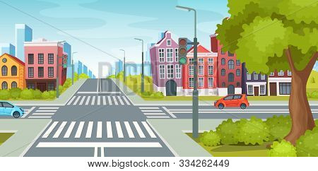 Urban Street With Roads, Facade Of Urban Buildings And Landscape.