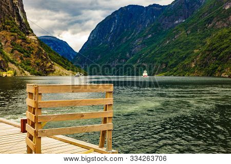 Mountains Landscape And Ferry Boat On Fjord Sognefjord In Gudvangen Norway Scandinavia. Tourism Vaca