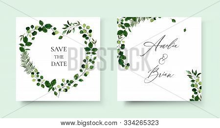 Wedding Floral Invite Card Save The Date Design With Botanic Green Leaf Herbs Wreath And Frame. Bota
