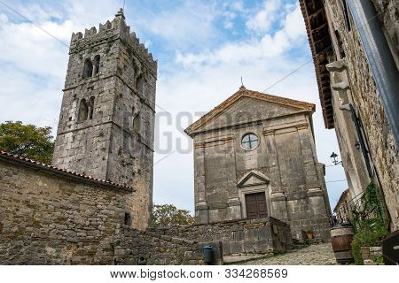 Bell Tower And Parish Church Of The Assumption Of Mary In Famous Smallest Town In The World - Hum, C
