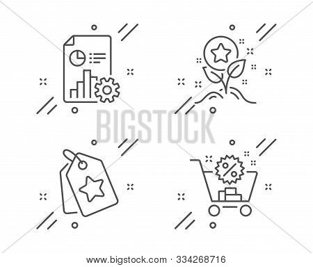 Report, Loyalty Points And Loyalty Tags Line Icons Set. Shopping Cart Sign. Presentation Document, B