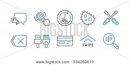 Set Of Technology Icons, Such As Screwdriverl, Swipe Up, Megaphone, 48 Hours, Bacteria, Cogwheel Set