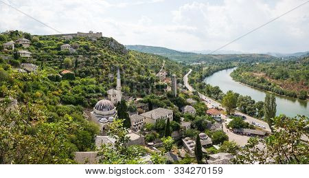 Panoramic View Of Small Town Pocitelj And River Neretva, Bosnia And Herzegovina