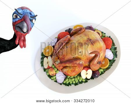 3d Rendering Of A Silly Cartoon Turkey Looking Angry When He Sees A Roasted Turkey On A Thanksgiving
