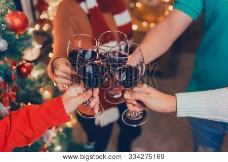 Christmas And New Year Party With Asian Friends. Winter And End Of Year Celebrating With Drinking Re