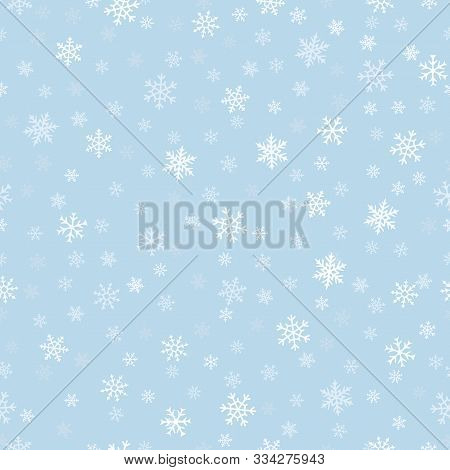 Snowflakes Seamless Pattern. Subtle Vector Background With Small Hand Drawn White Snowflakes On Blue