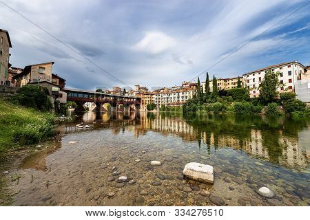 Bassano Del Grappa With The River Brenta And The Ponte Degli Alpini (bridge Of The Alpini). Vicenza
