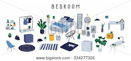 Set For Badroom With Stylish Comfy Furniture And Modern Home Decorations In Trendy Scandinavian Or H