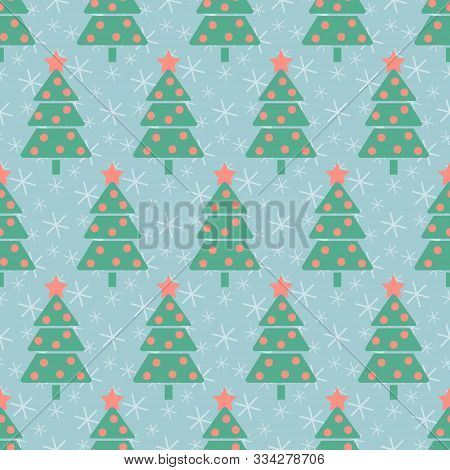 Christmas Pattern. Seamless Vector Illustration With Stylized Christmas Trees