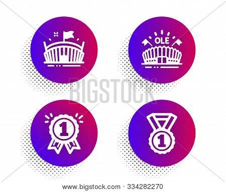Arena, Reward And Sports Arena Icons Simple Set. Halftone Dots Button. Best Rank Sign. Sport Stadium