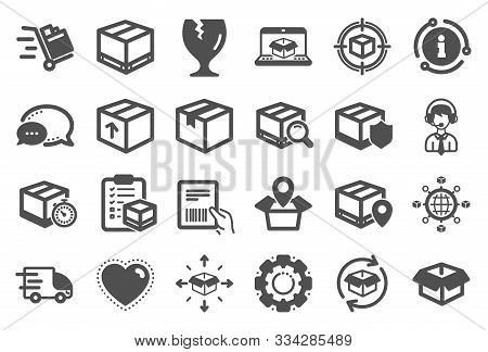 Logistics, Shipping Document Icons. Set Of Truck Delivery, Box And Checklist Icons. Parcel Tracking