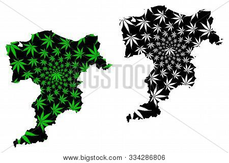 Moray (united Kingdom, Scotland, Local Government In Scotland) Map Is Designed Cannabis Leaf Green A