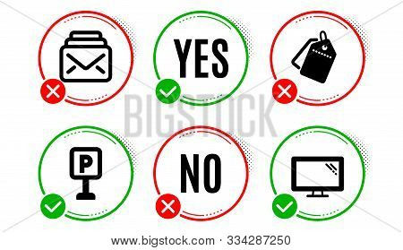 Sale Tags, Parking And Mail Icons Simple Set. Yes No Check Box. Monitor Sign. Discount Labels, Auto