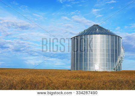 View Of A Large Grain Bin Saskatchewan, Canada