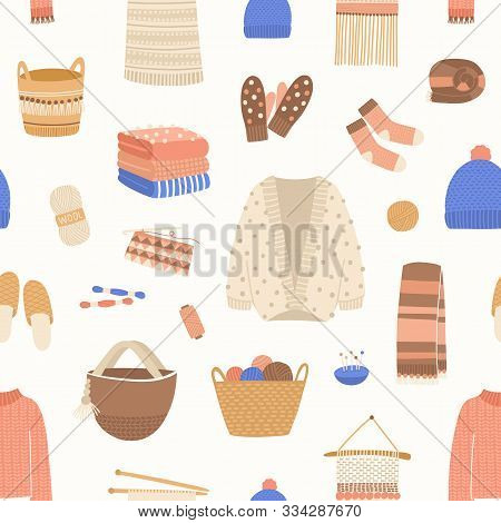 Knitted Items Vector Seamless Pattern. Cute And Warm Winter Clothes Backdrop. Skein Of Wool, Knittin