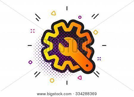 Settings Or Editing Sign. Halftone Circles Pattern. Customisation Icon. Repair Symbol. Classic Flat