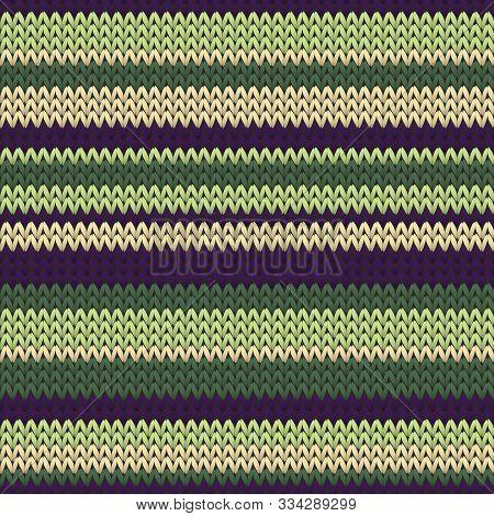Woven Horizontal Stripes Knit Texture Geometric Vector Seamless. Jacquard Knitwear Fabric Print. Nor