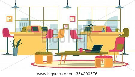 Flat Banner Business Interior Spacious Open Office. Creative Office With Panoramic Windows. On High