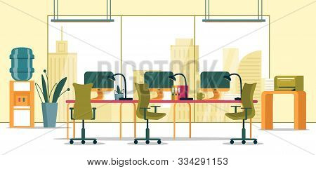 Business Office Interior With Panoramic Window. Spacious Office With Panoramic Window, Common Desk F