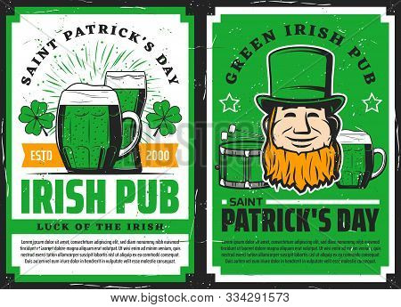 Vector Saint Patrick Day Irish Luck Symbols Of Leprechaun In Green Hat With Drum And Shamrock Lucky