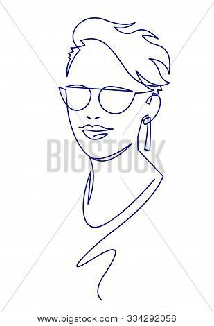 Continuous One Line Drawing Woman Face In Glasses. Modern Minimalism Art, Aesthetic Contour.