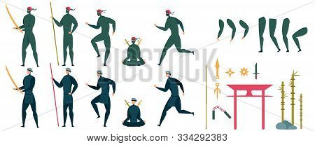 Ninja Characters In Different Position With Weapon Running, Attacking, Moving. Action And Animation