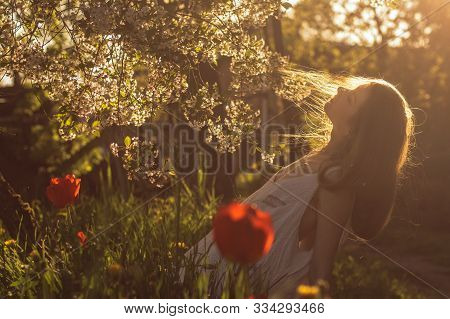 Girl In White Dress Sitting Among Flowers Near Tulips In Sunset And Threw Back Her Head, Springtime