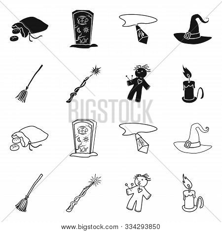Isolated Object Of Witchcraft And Mystic Symbol. Collection Of Witchcraft And Magic Stock Vector Ill