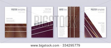 Geometric brochure design template set. Gold abstract lines on bordo background. Alive brochure design. Pleasing catalog, poster, book template etc. poster