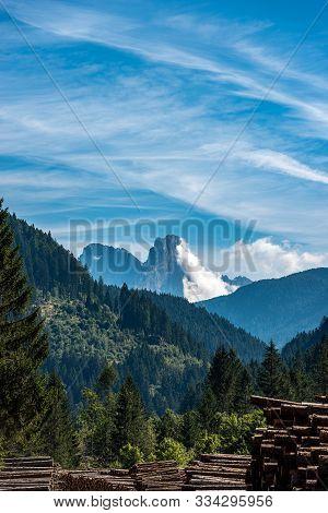 Pale Di San Martino With The Peak Called Cimon Della Pala (3186 M), Val Di Fiemme, Dolomites In The