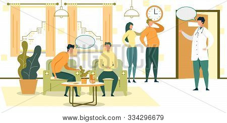 Cartoon People Wait In Chairs In Hospital Hall Vector Illustration. Male Doctor In Doorway. Clinic L