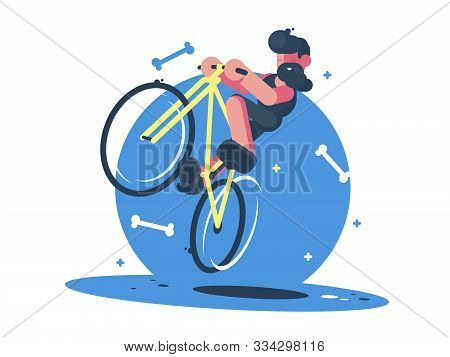 Active Dude Rides Bicycle. Fun Sports Entertainment
