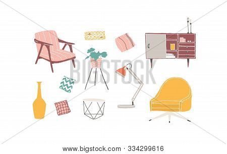 Furniture Pieces Hand Drawn Vector Illustrations Set. Home Interior Design Elements. Trendy Living R