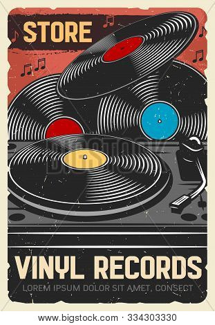 Vinyl Records Store, Vector Vintage Retro Poster, Music Instruments And Dj Musical Equipment Store.