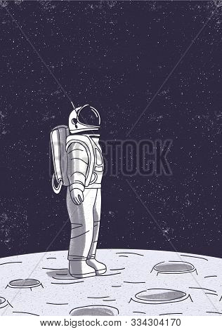 Astronaut On Moon Surface Vector Illustration. Cosmonaut In Outer Space Cartoon Character. Interstel