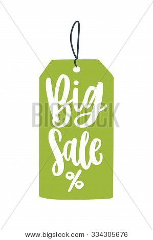 Big Sale Price Tag Flat Vector Illustration. Mega Price Reduction Creative Advert Idea. Seasonal Dis
