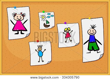 Cork Board With Kids Drawings. Sheets Of Paper With Pictures Of Baby. Hand Drawn Illustration Of Pin