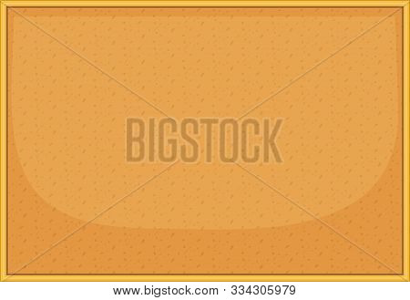Cork Board With Wooden Frame. Empty Blank Bulletin Board On White Background.  Horizontal Pin Board