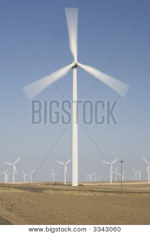 Wind Turbines With Blurred Prop Showing Motion