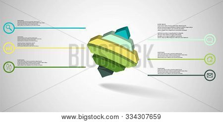 3D Illustration Infographic Template With Embossed Bent Rhomb Horizontally Divided To Six Parts Aske