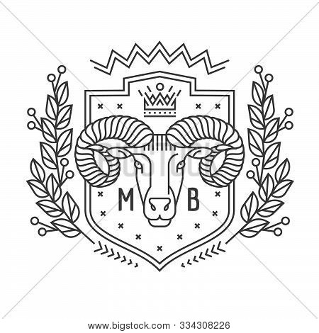 Emblem, Badge With A Ram Head In The Style Of Linear Engravings, Armorial Symbols. In The Style Of L