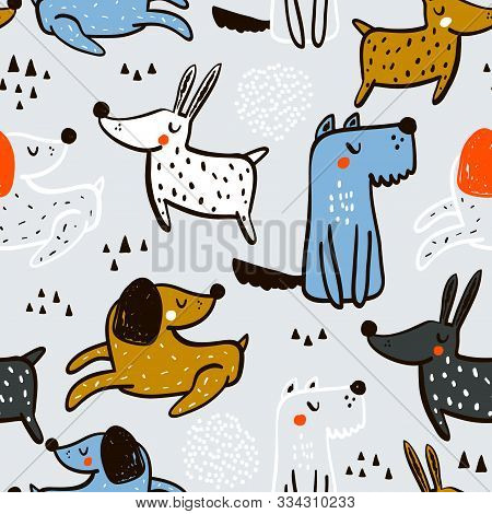 Seamless Pattern With Cute Penguins In Crowns And Hand Drawn Elements. Creative Winter Childish Text