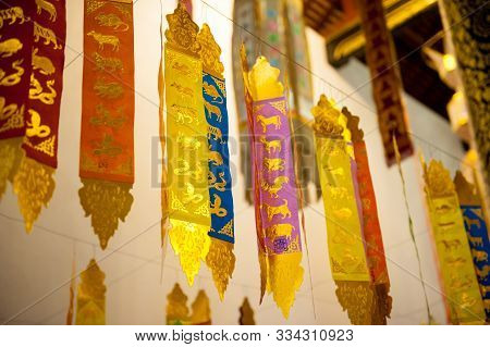 Chiang Mai, Thailand: Colorful And Golden Temple Decoration In Detail. Buddhist Temple Wat Ornaments