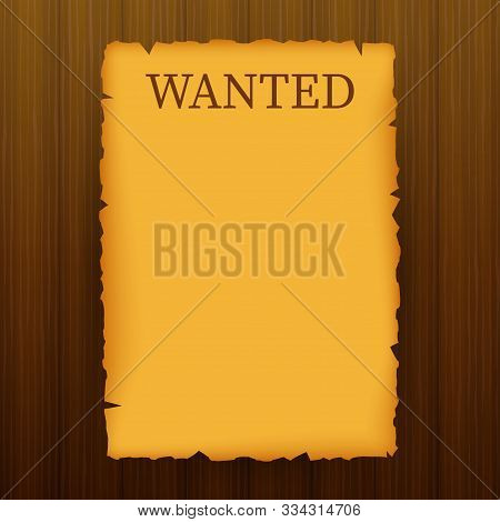 Wanted, dead or alive. Wild west, grunge, old poster on wooden planks. Vector stock illustration poster