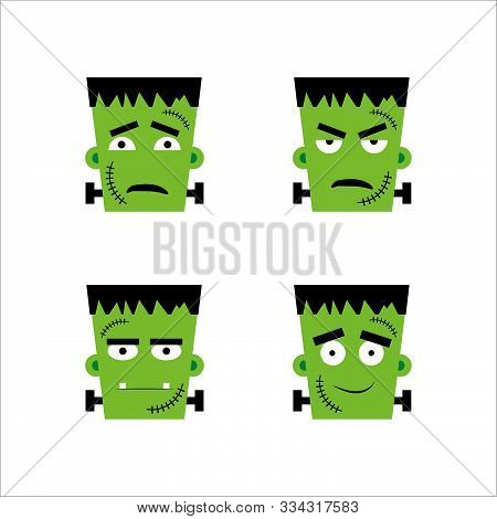 Set Of Frankenstein Facial Emotions.  Vector Illustration In Cartoon Style. Eps 10