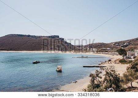 Mykonos, Greece - September 23, 2019:high Angle View Of Panormos Beach On A Bright Sunny Day. Panorm