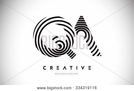 Qa Lines Warp Logo Design.vector Letter Icon Made With Circular Lines.