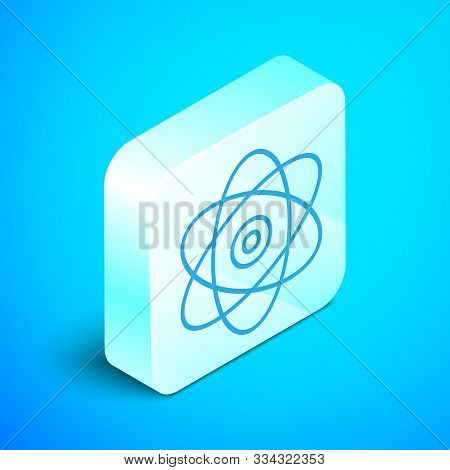 Isometric Line Atom Icon Isolated On Blue Background. Symbol Of Science, Education, Nuclear Physics,