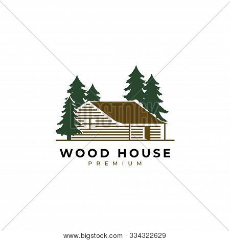 Wood House Illustration Logo Design Vector Template.cabin Log Icon