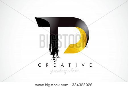 Td Letter Design With Brush Stroke And Modern 3d Look Vector Illustration.